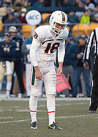 Miami placekicker Matt Goudis. The Miami Hurricanes defeated the Pitt Panthers 41-31 at Heinz Field, Pittsburgh, Pennsylvania on November 29, 2013.
