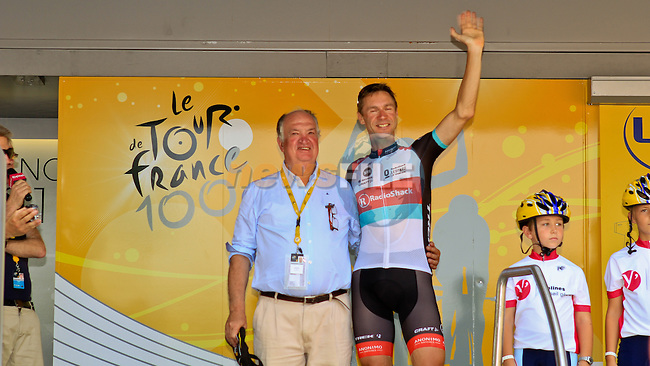 Retiring Tour Director Jean-Francois Peschaux with the oldest man in the race at 41 Jens Voigt (GER) Radioshack Leopard Trek at the sign on before the start of the Final Stage 21 of the 100th Edition of the 2013 Tour de France from Versailes to Paris Champs-Elysees. 21st July 2013.<br /> (Photo:Thomas van Bracht / Peloton Photos/www.newsfile.ie)