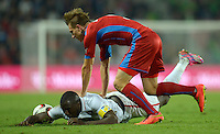 PRAGUE, Czech Republic - September 3, 2014: USA's Jozy Altidore and Borek Dockal of the Czech Republic during the international friendly match between the Czech Republic and the USA at Generali Arena.
