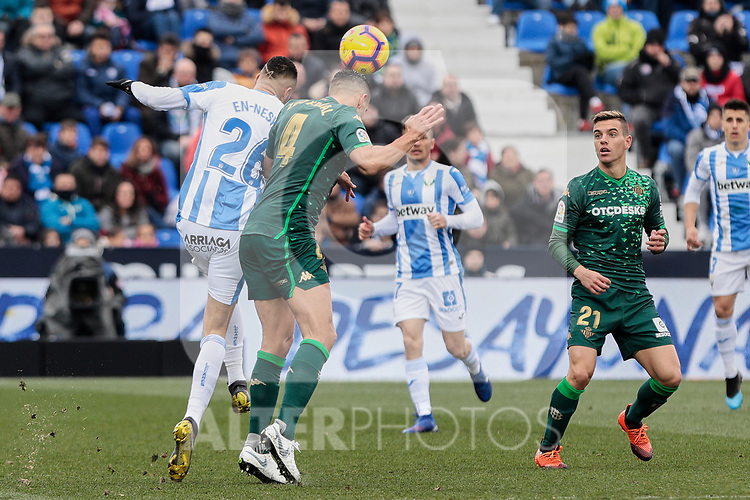 CD Leganes's Youssef En-Nesyri and Real Betis Balompie's Zouhair Feddal during La Liga match between CD Leganes and Real Betis Balompie at Butarque Stadium in Madrid, Spain. February 10, 2019. (ALTERPHOTOS/A. Perez Meca)