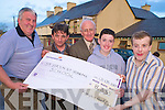 Dan Nagle and Dan O'Leary, Kingdom Hunt Club,who presented a cheque of EUR8,335 to TJ Barry, principal St Ita's and St Josephs, Tralee, at the bridge Bar in Rathmore on Friday night. Also pictured are Oisin O'Mahony and Paul O'Sullivan.......