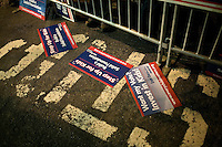 "Supporters and protesters gather in the ""free speech zone"" outside the site of the GOP debate at St. Anselm College in Manchester, New Hampshire, on Jan. 7, 2012."