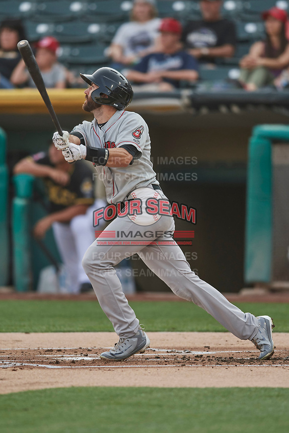Steve Lombardozzi (2) of the Nashville Sounds bats against the Salt Lake Bees at Smith's Ballpark on July 28, 2018 in Salt Lake City, Utah. The Bees defeated the Sounds 11-6. (Stephen Smith/Four Seam Images)