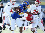 BROOKINGS, SD - NOVEMBER 17: Pierre Strong, Jr. #20 from South Dakota State University stiff arms Elijah Reed #4 from the University of South Dakota during their game Saturday afternoon at Dana J. Dykhouse Stadium in Brookings, SD. (Photo by Dave Eggen/Inertia)