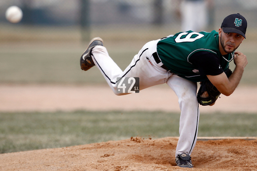 15 July 2011: Starting pitcher Olivier Berrebi of Montigny Cougars pitches against the PUC during the 2011 Challenge de France match won 19-4 by the PUC over the Montigny Cougars, in Les Andelys, near Rouen, France.