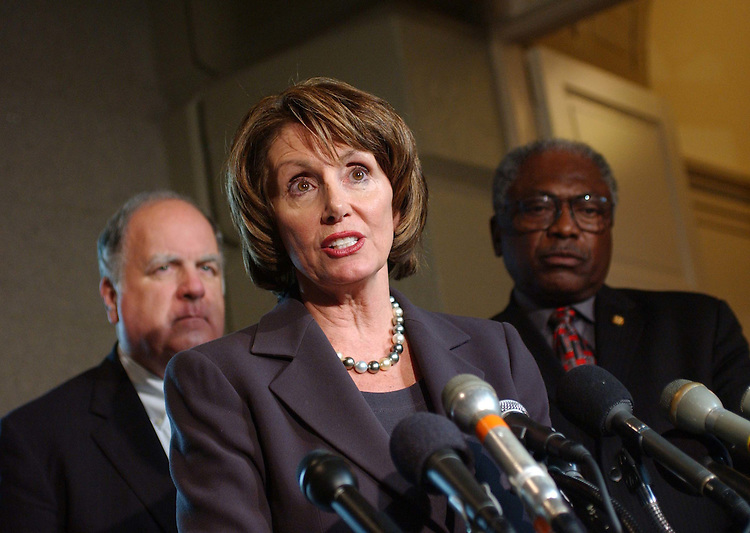 11/9/04.HOUSE DEMOCRATS--House Budget ranking Democrat John M. Spratt Jr., D-S.C., House Minority Leader Nancy Pelosi, D-Calif., and Democratic Caucus Vice Chairman James E. Clyburn, D-S.C., during a news conference after a closed-door meeting of House Democrats..CONGRESSIONAL QUARTERLY PHOTO BY SCOTT J. FERRELL