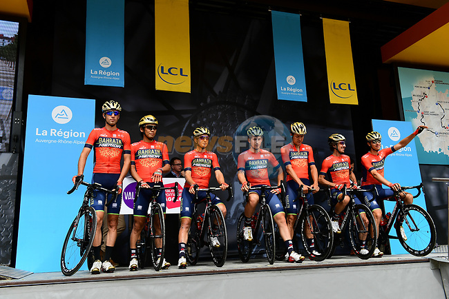 Bahrain-Merida team introduced on stage at sign on before Stage 1 of the 2018 Criterium du Dauphine 2018 running 179km from Valence to Saint-Just-Saint-Rambert, France. 4th June 2018.<br /> Picture: ASO/Alex Broadway | Cyclefile<br /> <br /> <br /> All photos usage must carry mandatory copyright credit (© Cyclefile | ASO/Alex Broadway)