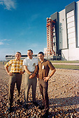 In this US Government hand-out photo, taken on October 8,1968 the Apollo 8 prime crew stands in foreground as the Apollo (Spacecraft 103/Saturn 503) space vehicle leaves the Kennedy Space Center's Vehicle Assembly Building on way to Pad A, Launch Complex 39. The Saturn V stack and its mobile launch tower are atop a huge crawler-transporter. The Apollo 8 crew consists of (left to right) astronauts Frank Borman, commander; James A. Lovell Jr., command module pilot; and William A. Anders, lunar module pilot.  In  August of 1968, these three NASA astronauts received a call telling them to cancel their winter holiday plans — they were going to the Moon. Fifty years later we are celebrating the historic mission of Apollo 8.  <br /> Credit: NASA via CNP