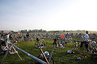 The bicycle and running transition area before the start of the New Jersey Devilman Triathlon on May 5, 2012 in Cumberland County, New Jersey.