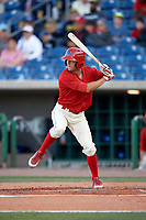 Clearwater Threshers center fielder Zachary Coppola (19) at bat during a game against the Dunedin Blue Jays on April 7, 2017 at Spectrum Field in Clearwater, Florida.  Dunedin defeated Clearwater 7-4.  (Mike Janes/Four Seam Images)
