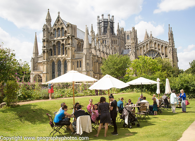 Ely cathedral church from Almonry restaurant garden, Cambridgeshire, England, UK
