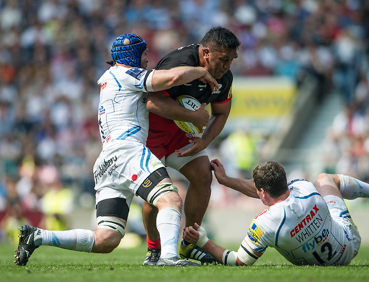 Mako Vunipola of Saracens in action during todays match<br /> <br /> Photographer Ashley Western/CameraSport<br /> <br /> Rugby Union - Aviva Premiership Final - Saracens v Exeter Chiefs - Saturday 28th May 2016 - Twickenham Stadium, Twickenham, London  <br /> <br /> World Copyright &copy; 2016 CameraSport. All rights reserved. 43 Linden Ave. Countesthorpe. Leicester. England. LE8 5PG - Tel: +44 (0) 116 277 4147 - admin@camerasport.com - www.camerasport.com
