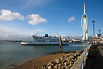 Wightlink ferry passing Spinnaker tower, Portsmouth harbour, Hampshire, England