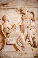 Greek Tomb bas reliefs for 5th Century BC, The Greek archaeological site of Ancient Aegina, Kolna, Greek Saronic Islands