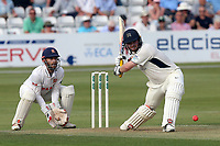Paul Stirling hits six runs for Middlesex as James Foster looks on from behind the stumps during Essex CCC vs Middlesex CCC, Specsavers County Championship Division 1 Cricket at The Cloudfm County Ground on 26th June 2017