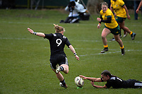 Kendra Cocksedge kicks for goal during the 2017 International Women's Rugby Series rugby match between the NZ Black Ferns and Australia Wallaroos at Rugby Park in Christchurch, New Zealand on Tuesday, 13 June 2017. Photo: Dave Lintott / lintottphoto.co.nz