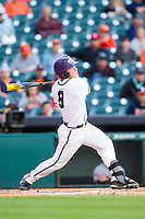 Boomer White #8 of the Texas Christian Horned Frogs follows through on his swing against the Sam Houston State Bearkats at Minute Maid Park on February 28, 2014 in Houston, Texas.  The Bearkats defeated the Horned Frogs 9-4.  (Brian Westerholt/Four Seam Images)