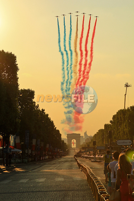 French Air Force display over the Champs Elysees during the Final Stage 21 of the 100th Edition of the 2013 Tour de France from Versailes to Paris Champs-Elysees. 21st July 2013.<br /> (Photo:Thomas van Bracht / Peloton Photos/www.newsfile.ie)