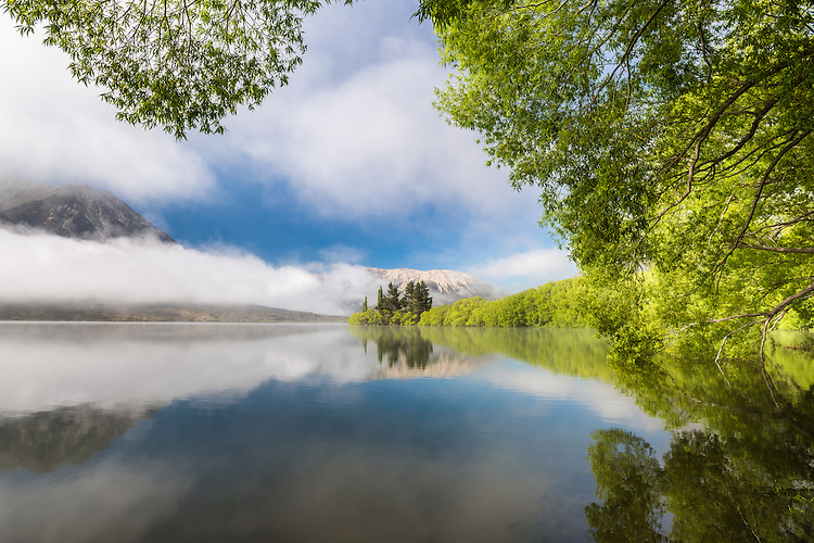 Thick morning mist clears at Lake Pearson, Arthurs Pass, Canterbury. New Zealand - landscape  photography , canvas, fine art print