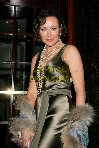 AMANDA MEALING.RTS Programme Awards 2007 - Arrivals, Grosvenor House, Park Lane, London, W1, England. .March 19 2008 .half length dress silk satin pearl necklace fur brown green.CAP/AH.©Adam Houghton/Capital Pictures.