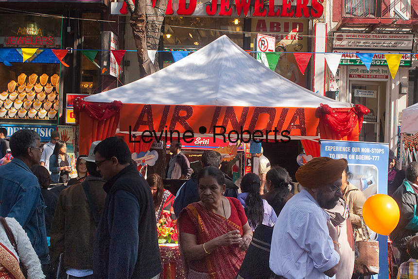 Air-India booth at a Diwali street fair in the Queens neighborhood of Jackson Heights in New York on Sunday, October 14, 2012. The Jackson Heights neighborhood is home to a mosaic of ethnic groups beside Indians which include Pakistanis, Tibetans, Southeast Asian as well as long-time Jewish, Irish and Italian residents.  (© Richard B. Levine)