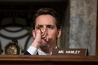 Senator Josh Hawley, Republican of Missouri, listens to testimony during a Senate Armed Services Committee on Capitol Hill in Washington, DC on February 7, 2019. Credit: Alex Edelman / CNP/AdMedia