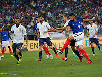 Olivier Giroud shoots and scores during the  friendly  soccer match,between Italy  and  France   at  the San  Nicola   stadium in Bari Italy , September 01, 2016<br /> gol <br /> amichevole di calcio tra le nazionali di Italia e Francia
