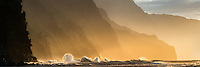Wave on Napali Coast at sunset from Kea Beach. Kauai, Hawaii
