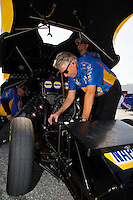 Jan 15, 2015; Jupiter, FL, USA; Rahn Tobler , crew chief for NHRA funny car driver Ron Capps during preseason testing at Palm Beach International Raceway. Mandatory Credit: Mark J. Rebilas-USA TODAY Sports