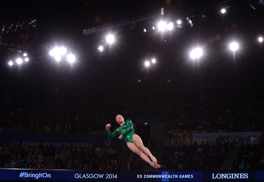 Gymnastics artistic women's AA final.  Pictured is Wales' Elizabeth Beddoe<br /> <br /> Photographer Chris Vaughan/CameraSport<br /> <br /> 20th Commonwealth Games - Day 7 - Wednesday 30th July 2014 - Gymnastics - The SSE Hydro - Glasgow - UK<br /> <br /> © CameraSport - 43 Linden Ave. Countesthorpe. Leicester. England. LE8 5PG - Tel: +44 (0) 116 277 4147 - admin@camerasport.com - www.camerasport.com
