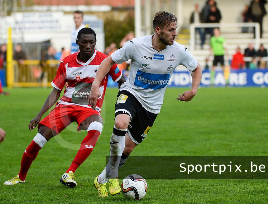 KSV Roeselare - R Antwerp FC : Vincent Provoost (r) aan de bal voor William Owusu Acheampong (links) <br /> foto VDB / BART VANDENBROUCKE