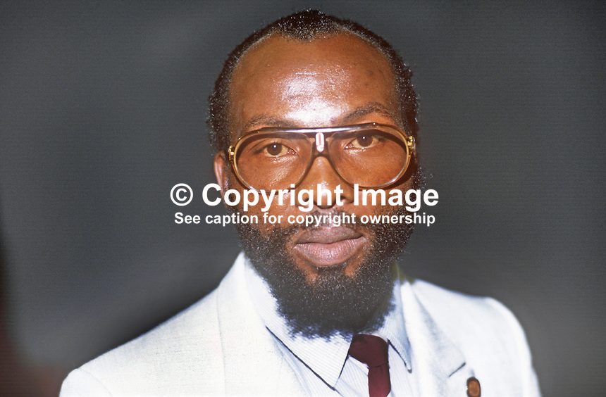 William Mahlangu, NEC member, Council of Unions of S Africa, at UK TUC annual conference, 1986. 19860910WM1<br />