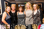 Cathy Irwin, Rita Holly, Alison Kelly, Maggie Morresy and Sinead O'Shea pictured at the John Mitchel's Strictly Come Dancing at the Ballygarry House Hotel on Sunday night.