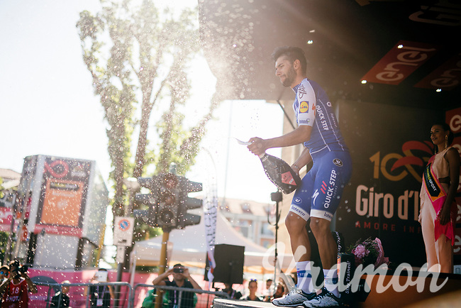 Fernando Gaviria's (COL/Quick-Step Floors) 4th Giro stage win podium celebration<br /> <br /> 100th Giro d'Italia 2017<br /> Stage 13: Reggio Emilia &rsaquo; Tortona (167km)
