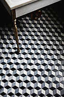 Euclid, a hand-cut mosaic shown in honed Nero Marquina, honed Allure, and polished Dolomite, is part of the Illusions® collection for New Ravenna.<br />