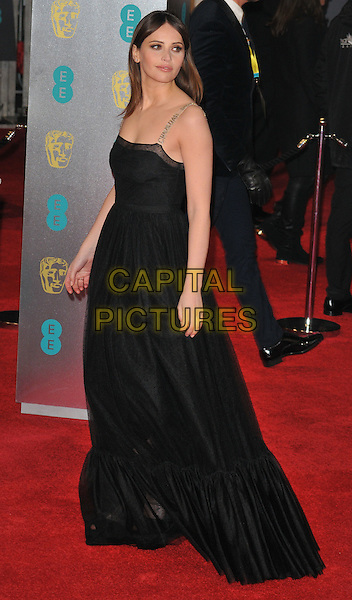 Felicity Jones at the EE British Academy Film Awards (BAFTAs) 2017, Royal Albert Hall, Kensington Gore, London, England, UK, on Sunday 12 February 2017.<br /> CAP/CAN<br /> &copy;CAN/Capital Pictures