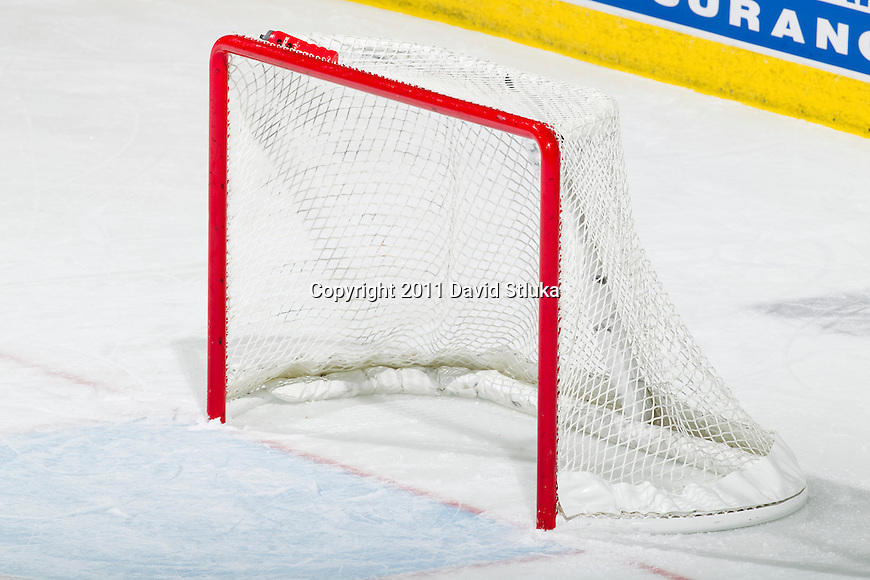 A goal sits empty during a Wisconsin Badgers NCAA women's hockey game against the Minnesota Golden Gophers on October 14, 2011 in Madison, Wisconsin. The Badgers won 3-2. (Photo by David Stluka)