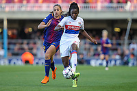 28th March 2018, Mini Estad, Barcelona, Spain; Womens Champions League football, quarter final, 2nd leg, Barcelona Women versus Lyon Women; Martens of FC Barcelona and Griedge Mbock of Olimpique de Lyon challenge for the ball