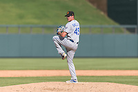 Surprise Saguaros relief pitcher Walker Sheller (49), of the Kansas City Royals organization, delivers a pitch during an Arizona Fall League game against the Salt River Rafters at Salt River Fields at Talking Stick on October 23, 2018 in Scottsdale, Arizona. Salt River defeated Surprise 7-5 . (Zachary Lucy/Four Seam Images)