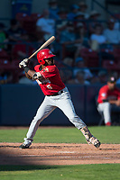 Vancouver Canadians third baseman Otto Lopez (5) at bat during a Northwest League game against the Spokane Indians at Avista Stadium on September 2, 2018 in Spokane, Washington. The Spokane Indians defeated the Vancouver Canadians by a score of 3-1. (Zachary Lucy/Four Seam Images)