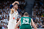 Real Madrid Rudy Fernandez and Panathinaikos Matt Lojeski during Turkish Airlines Euroleague Quarter Finals 3rd match between Real Madrid and Panathinaikos at Wizink Center in Madrid, Spain. April 25, 2018. (ALTERPHOTOS/Borja B.Hojas)