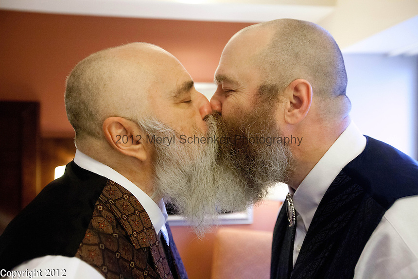 LARRY DUNCAN, 56, left, and RANDELL (RANDY) SHEPHERD, 48, from North Bend, Wash., prepare for their wedding in a Seattle hotel room on December 9, 2012, the first day that same-sex marriage is allowed in the state of Washington. The couple have been together for 11 years. Originally from the suburbs of Dallas, Texas, they moved to Washington seven years ago to obtain more gay rights. They got married at 2pm at Seattle First Baptist Church in a group ceremony with 24 other couples. ..They got married at 2pm at Seattle First Baptist Church in a group ceremony with 24 other couples.