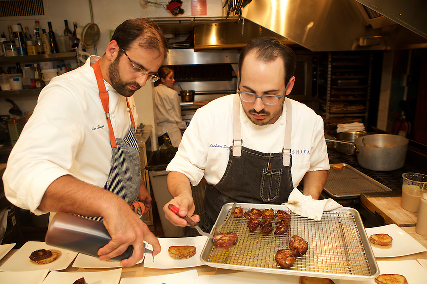 New York, NY - July 7, 2016: Chef Alon Shaya and his team present dinner at the James Beard House.<br /> <br /> CREDIT: Clay Williams for the James Beard House.<br /> <br /> &copy; Clay Williams / claywilliamsphoto.com
