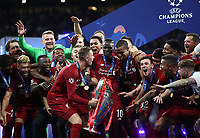 Liverpopol's captain Jordan Henderson preparers to hold up the trophy at the end of the UEFA Champions League final football match between Tottenham Hotspur and Liverpool at Madrid's Wanda Metropolitano Stadium, Spain, June 1, 2019. Liverpool won 2-0.<br /> UPDATE IMAGES PRESS/Isabella Bonotto