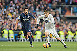 Mateo Kovacic (r) of Real Madrid battles for the ball with Jose Luis Garcia del Pozo, Recio, of Malaga CF during their La Liga 2016-17 match between Real Madrid and Malaga CF at the Estadio Santiago Bernabéu on 21 January 2017 in Madrid, Spain. Photo by Diego Gonzalez Souto / Power Sport Images