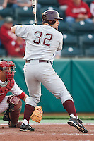 Justin Barnes (32) at bat during the NCAA matchup between the University of Arkansas-Little Rock Trojans and the University of Oklahoma Sooners at L. Dale Mitchell Park in Norman, Oklahoma; March 11th, 2011.  Oklahoma won 11-3.  Photo by William Purnell/Four Seam Images