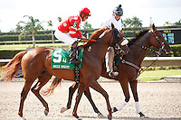 Field Commission on post parade for The Smile Sprint Handicap (G2), Calder Race Course, Miami Gardens Florida. 07-07-2012.  Arron Haggart/Eclipse Sportswire.