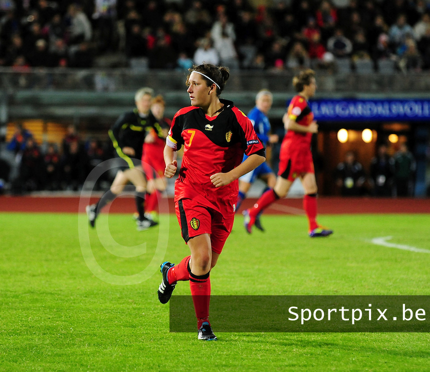 Iceland : UEFA Women's Euro Qualifying group stage (Group 3) - 21/09/2011 - 21:30CET (19:30 local time) - Laugardalsvöllur - Reykjavik : ICELAND (ijsland) - BELGIUM ( Belgie) : Laurence Marchal..foto DAVID CATRY / Vrouwenteam.be