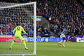 9th February 2019, The John Smith's Stadium, Huddersfield, England; EPL Premier League football, Huddersfield versus Arsenal; Alex Iwobi of Arsenal scores the opening goal after 14 minutes, volleying past Terence Kongolo of Huddersfield Town and Huddersfield Town goalkeeper Ben Hamer