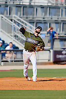 Biloxi Shuckers third baseman Lucas Erceg (17) throws to first base during a game against the Jacksonville Jumbo Shrimp on May 6, 2018 at MGM Park in Biloxi, Mississippi.  Biloxi defeated Jacksonville 6-5.  (Mike Janes/Four Seam Images)